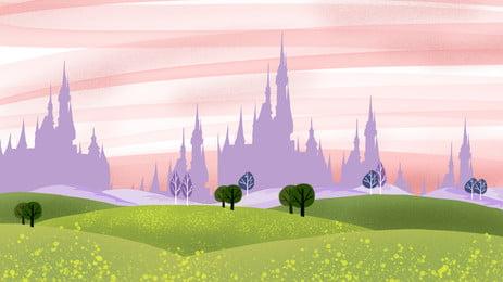 hand painted castle purple silhouette grassland, Green, Lawn, Cloud Background image