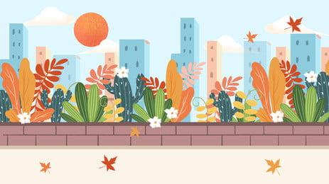 vẽ tay thành phố dọc mùa thu minh họa nền vẽ tay thành phố tòa, Cảnh, Trắng, Minh Ảnh nền