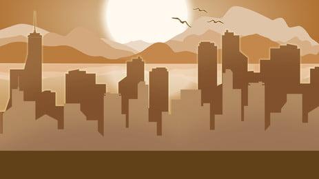 vẽ tay thành phố bóng poster nền vẽ tay thành phố nhà, Bóng, Áp, Cảnh Ảnh nền