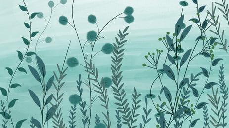 手繪綠色植物海報背景 手繪 綠色 植物 小草 海報 背景, 手繪, 綠色, 植物 背景圖片