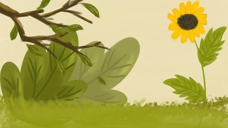 手繪向日葵海報背景 手繪 文藝 向日葵 花朵 花卉 鮮花 植物 樹葉 樹枝 綠色 海報 背景, 手繪, 文藝, 向日葵 背景圖片