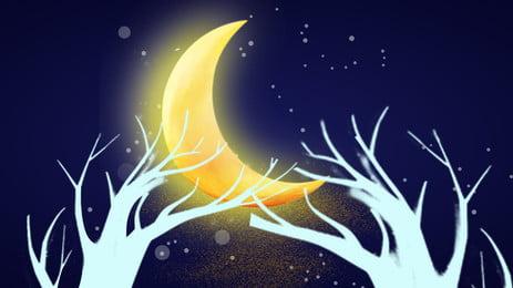 Handgemalte Nachtmondscheinlandschaft Hand gezeichnet Nacht Schön Mondschein Mond Szenerie Niederlassung Design Creative Poster Hintergrund Gezeichnet Nacht Schön Hintergrundbild