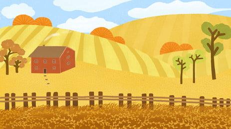 latar belakang poster hidup negara yang dilukis tangan tangan ditarik negara kehidupan leisure leisurely pokok rumah farmland nasi poster latar belakang, Latar Belakang Poster Hidup Negara Yang Dilukis Tangan, Tangan, Belakang imej latar belakang
