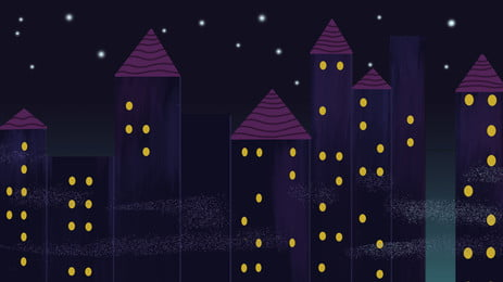 hand painted simple city houses, Building, Night View, Poster Background image