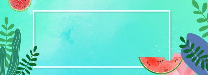 水墨夏日藍色banner 水墨 藍色 折扣 夏日清新 簡約 葉子 文藝 banner, 水墨夏日藍色banner, 水墨, 藍色 背景圖片