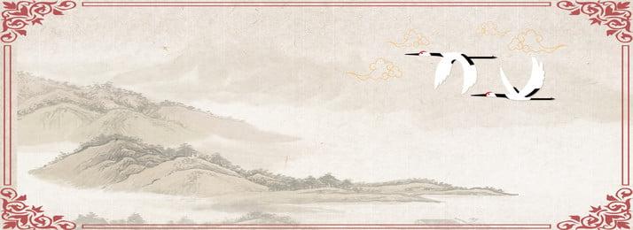 Ink phong cách cổ xưa vẽ tay phong cảnh truyền thống cần cẩu trắng poster Mực Vẽ tay Cổ điển Phong Mực Vẽ Ink Hình Nền