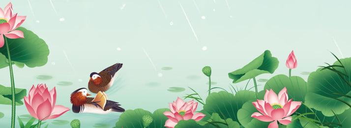 夏の蓮の池新鮮な文学ポスターの背景イラスト 蓮の池 ロータス 蓮の葉 グリーン 雨が降っている 雨 鳥 旋回 新鮮な 文学 単純な, 蓮の池, ロータス, 蓮の葉 背景画像