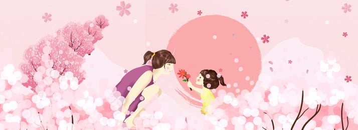 어머니의 날 핑크 꽃 따뜻한, 어머니와 딸, 문학, 배너 배경 이미지