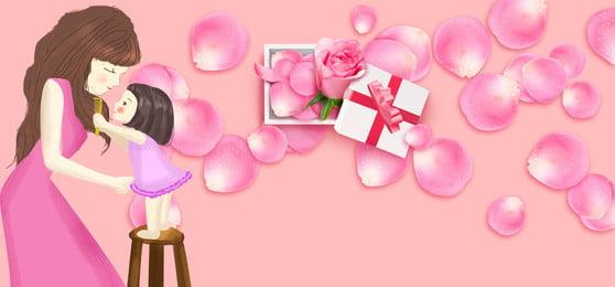 어머니의 날 낭만적 인 분홍색 꽃잎 신선한 최소한의 광고 배경 어머니의 날 낭만주의 핑크색 꽃잎 신선한 단순한 광고 배경 꽃잎 엄마와 아기, 어머니의, 날, 낭만주의 배경 이미지