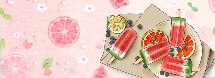 pink summer lemon watermelon, Popsicle, Cool, Cartoon Background image