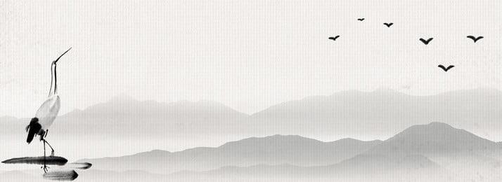 Literarische Retro Poster Hintergrund Illustration Mandschurenkranich Grau Tinte Landschaft Wildgans Textur Retro Literarisch Literarische Retro Poster Hintergrundbild