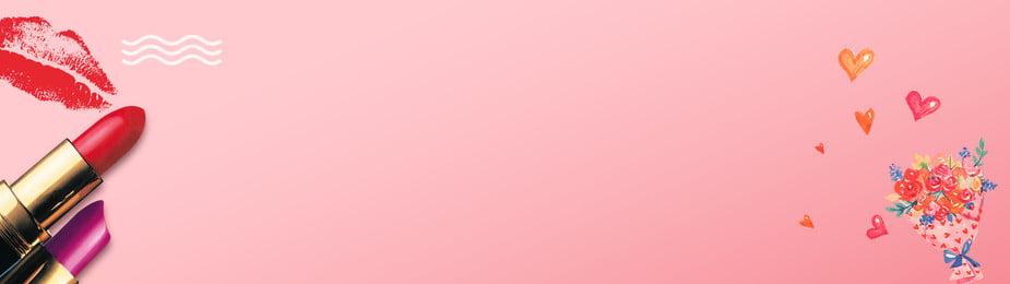 bandeira de cosméticos do dia dos namorados romântico romântico dia dos namorados batom impressão, Dos, Namorados, Labial Imagem de fundo
