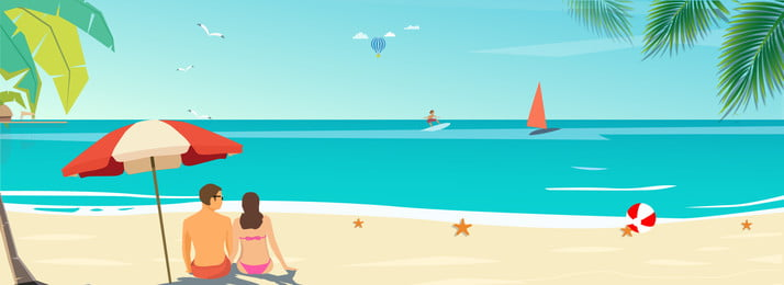 Seaside Summer Camp Summer Vacation Holiday, Life, Back View, Simple, Background image