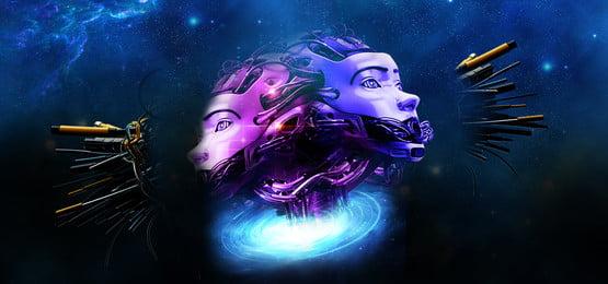 スターロボット人工知能技術バナー 知能ロボット 技術的な意味 地球 惑星 グラデーション スターライト 軽い 未来 ブルー 舞台背景 バナー 電子商取引, スターロボット人工知能技術バナー, 知能ロボット, 技術的な意味 背景画像