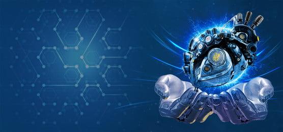 ブルースマートテクノロジーバナー 知能ロボット 技術的な意味 地球 惑星 グラデーション スターライト 軽い 未来 ブルー 舞台背景 バナー 電子商取引, 知能ロボット, 技術的な意味, 地球 背景画像