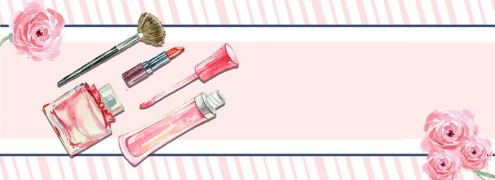 ilustrasi segar sintesis kreatif stripe merah jambu rose kosmetik perfume ilustrasi sintesis kreatif segar cantik kartun mudah, Jambu, Rose, Kosmetik imej latar belakang