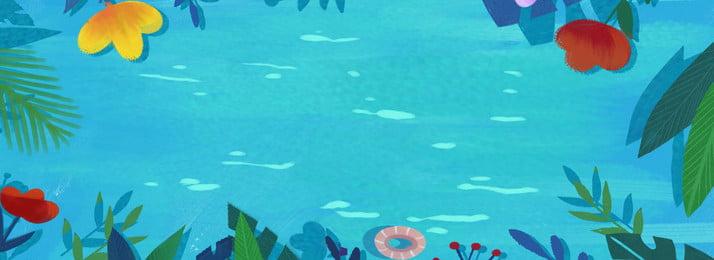 青い夏水の波紋バナーの背景 夏 ブルー 水面 波紋 海水 花 ブルー 葉っぱ 水 葉っぱ かっこいい 青い夏水の波紋バナーの背景 夏 ブルー 背景画像