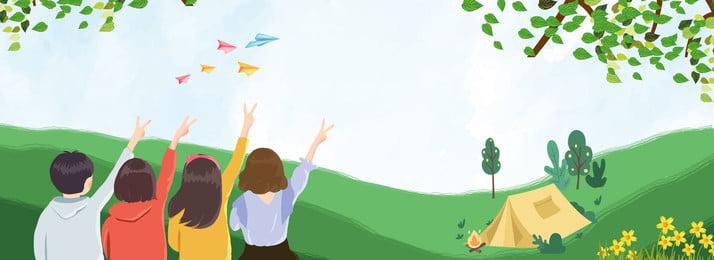 4人卒業旅行キャンプのバナーの背景 夏 卒業旅行 旅行シーズン 背面図 漫画 プロパガンダ キャンプ バナーポスター 広告宣伝 バックグラウンド, 夏, 卒業旅行, 旅行シーズン 背景画像