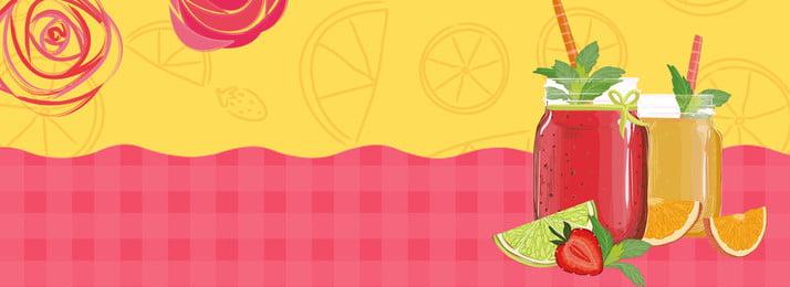 夏天冰鎮果汁美食banner 夏天 日系 清涼 橙汁 飲料 卡通 美食 廣告海報 背景, 夏天, 日系, 清涼 背景圖片