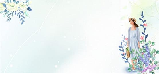 夏季小暑文藝手繪美女banner 夏季 小暑 文藝 手繪 美女 手繪葉子 夏天 清新, 夏季小暑文藝手繪美女banner, 夏季, 小暑 背景圖片