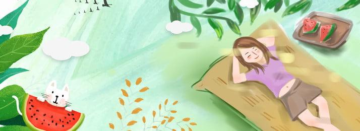 Cây cô gái mùa hè dưới ngọn cờ mát lạnh ăn Mùa hè Nhiệt nhỏ Dưa Quảng Hè Nhiệt Hình Nền