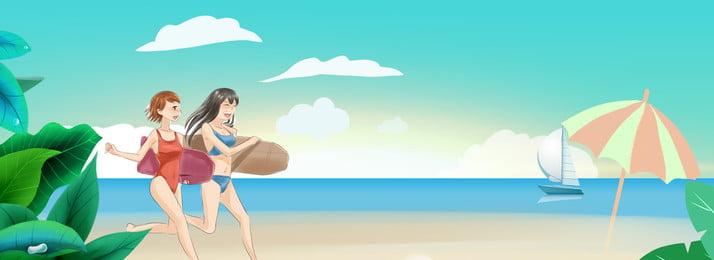 summer surf cartoon girl, Seaside, Beach, Fresh Summer Background image