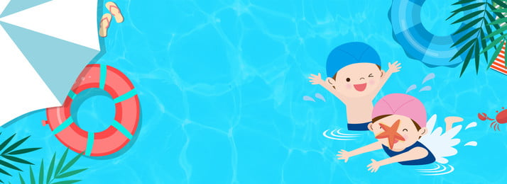 summer swimming pool swim cartoon, Blue, Fresh Summer, Discount Background image