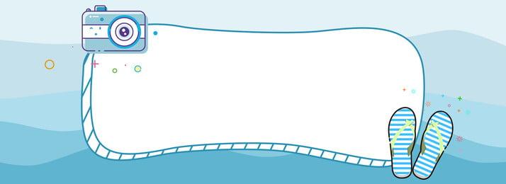 summer trip blue sea camera, Flip Flops, Banner, Summer Trip Background image