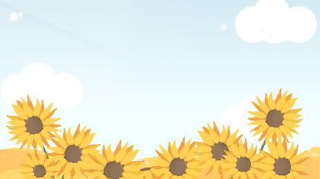 向日葵花背景黃色花動畫片背景, 卡通花海, 溫暖的花朵, 太陽花 背景圖片