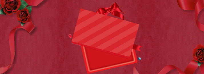 Tanabata Red Valentines Day Chinese Valentines Day, Gift Box, Ribbon, Red Rose, Background image
