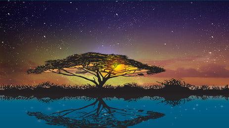 tanabata star tree và galaxy quảng cáo đẹp lãng mạn poster tanabata bầu trời đầy, Sao, Tổng, Tạo Ảnh nền