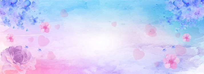 नीला गुलाबी पानी के रंग का वेलेंटाइन पृष्ठभूमि तानाबाता वेलेंटाइन का दिन चुंबन, का, गुलाब, पोस्टर पृष्ठभूमि छवि
