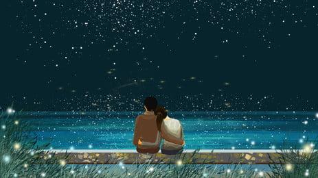 中国のバレンタインデーバレンタインデーカップルstar river advertising poster 七夕 バレンタインデー ロマンチックな クリエイティブ合成 カップル 銀河 広告宣伝 ポスター, 七夕, バレンタインデー, ロマンチックな 背景画像