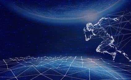 科学技術のバックグラウンドで走っている人々 技術の背景 地球 テクノロジーライト 走っている人 現代の ブルー 地球 行 かっこいい 雰囲気, 科学技術のバックグラウンドで走っている人々, 技術の背景, 地球 背景画像