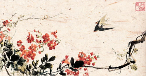 Traditional Chinese Style Classical Birds And Flowers, Toilet Paper, Poster, Swallow, Background image