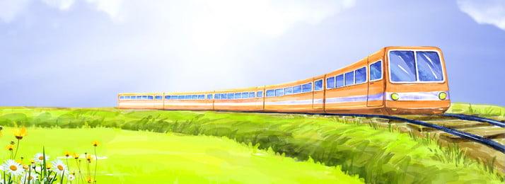 cartaz minimalista fresco de turismo de temporada de graduação trem track sky pastagem flor plant verde azul luz do sol simples fresco, Cartaz Minimalista Fresco De Turismo De Temporada De Graduação, Trem, Track Imagem de fundo