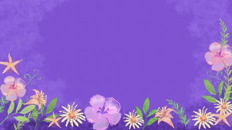 Áp phích hoa đơn giản và đẹp màu nước Vẽ tay Đơn Tím Mẫu Màu Hình Nền