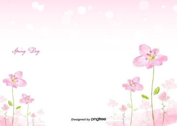 pink hand painted cherry grass spring illustration background, Low-key, Hand Painted, Hand Drawn Style Background image