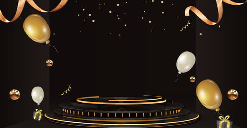 1212 black gold balloon gift, Stage, Gold Ribbon, 1212 Background image
