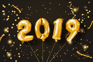 Ano de 2019 do banner de fundo de ano novo galo 2019 Balão Fundo criativo Font Ano novo Festival Novo Do Novo Imagem Do Plano De Fundo