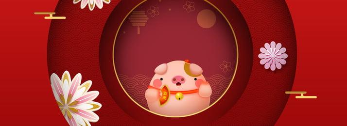 Ano Novo de 2019 Ano Novo Celebração Estilo Chinês Poster Background Design 2019 Ano novo Ano novo Festivo Estilo Cartaz Chinês Fundo Imagem Do Plano De Fundo