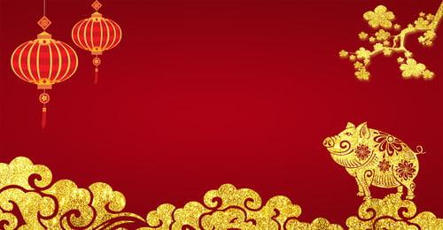 2019 Год Свиньи Горячий Золотой Ветер Волна Золотая Свинья Плакат 2019 год свиньи Горячее свинья фонарь год Фоновое изображение