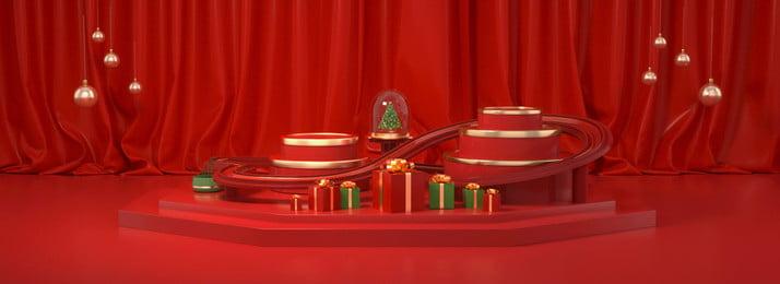 3d cảnh santa claus nền đỏ cây giáng sinh, áp Phích Giáng Sinh, Nền đỏ, C4d Ảnh nền