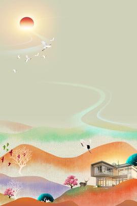 抽象的な中国の不動産ポスターの背景組成 アブストラクト 不動産 中華風 ヴィラバンガロー ビル 景観 中華風 クレーン 日の出 クリエイティブ 単純な , アブストラクト, 不動産, 中華風 背景画像