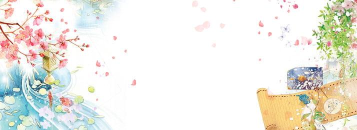 古風唯美海報背景 古風 桃花 花瓣 粉色花瓣 古風素材 潑墨 手繪 唯美, 古風, 桃花, 花瓣 背景圖片