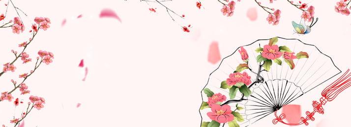 アンティークピンクの新鮮なポスターの背景 古代のスタイル ピンク 新鮮な 桃の花 古代のファン 古代の素材 ファン 花びら, 古代のスタイル, ピンク, 新鮮な 背景画像