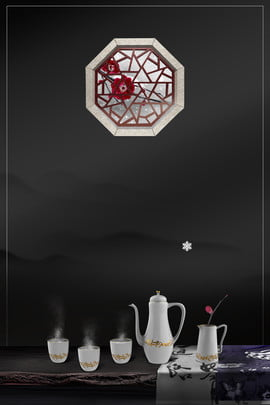 傳統古風海報背景 古風 窗戶 桌子 茶具 梅花 古味 古意 古風 古風 , 傳統古風海報背景, 古風, 窗戶 背景圖片
