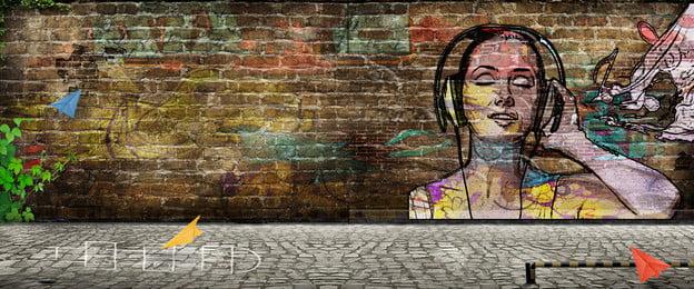 síntese criativa de parede de grafite de arte de infância art alternativa infância music parede de tijolo amarelinha avião, Papel, Graffiti, Síntese Criativa De Parede De Grafite De Arte De Infância Imagem de fundo