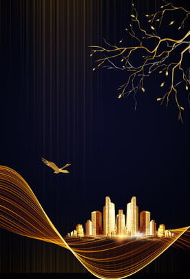 atmosphere black gold golden city curve background , Gold Line, Golden Branch, Wild Goose Background image