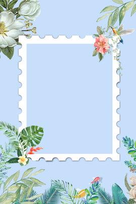 藍色清新簡約海報背景 八月 你好 藍色 清新 文藝 邊框 花朵 簡約 , 藍色清新簡約海報背景, 八月, 你好 背景圖片